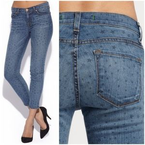 J brand print star ankle jeans.